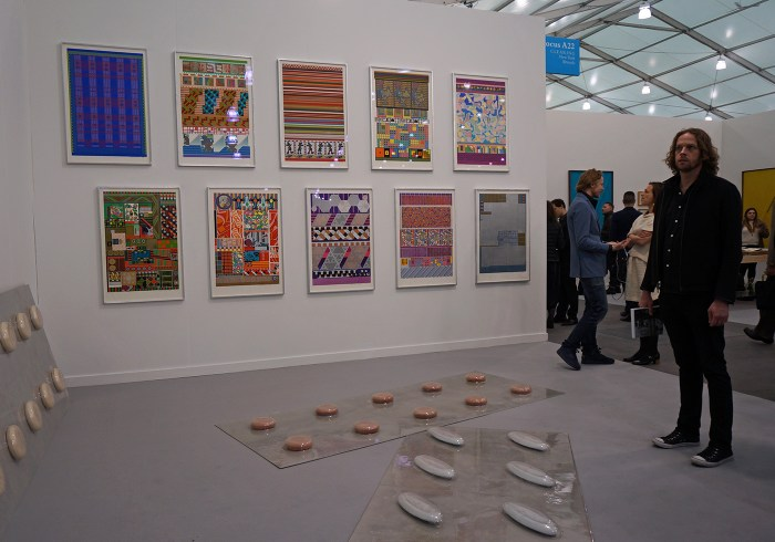 C L E A R I N G's booth, with prints by Eduardo Paolozzi and sculptures by Marine Pinksy (click to enlarge)