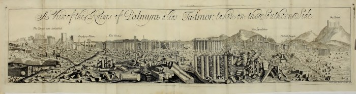 The first image of Palmyra, from 1691 (published in Philosophical Transactions of the Royal Society of London 19, 1695) (click to enlarge)