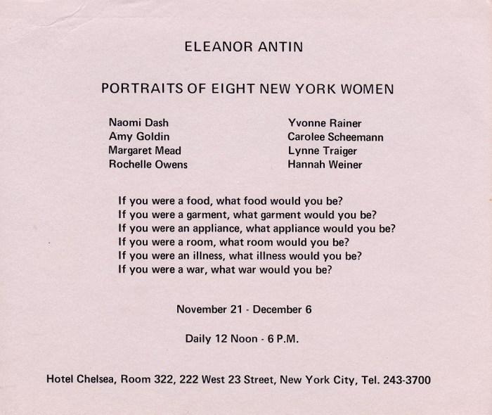 "Eleanor Antin, Announcement for ""Portraits of Eight New York Women"" (1970) (via dianerosenstein.com)"