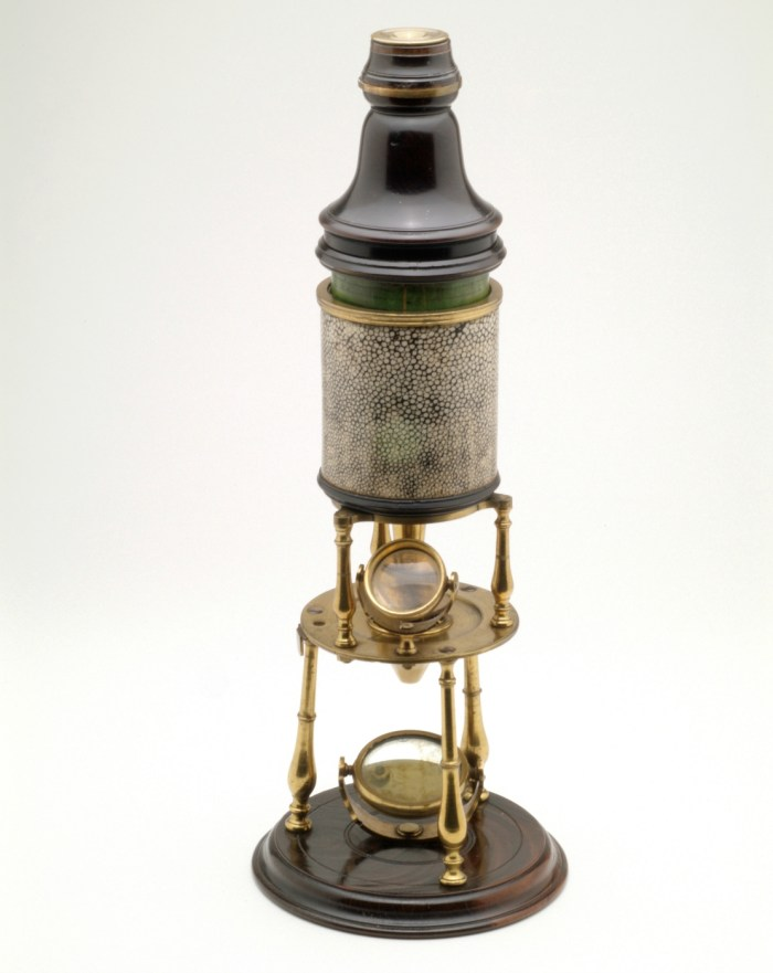 Edmund Culpeper, compound microscope with mirror (London, 1730) (courtesy Museum Boerhaave, Leiden, the Netherlands)