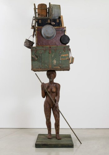 "Alison Saar ""Breach (large figure on raft)"" (2016), wood, ceiling tin, found trunks, washtubs and misc objects, 155 x 60 x 51 in. (via lalouver.com)"