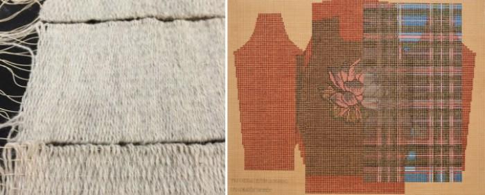 "Left: Mette Clausen, ""Standard Incomparable reference image"" (2016), Right: Ellen Lesperance, ""Mis Cuerdas Están Llorando, Y Mi Corazón También"" (2015), gouache and graphite on tea-stained paper, 22 x 29 1/2 inches (via armoryarts.org)"