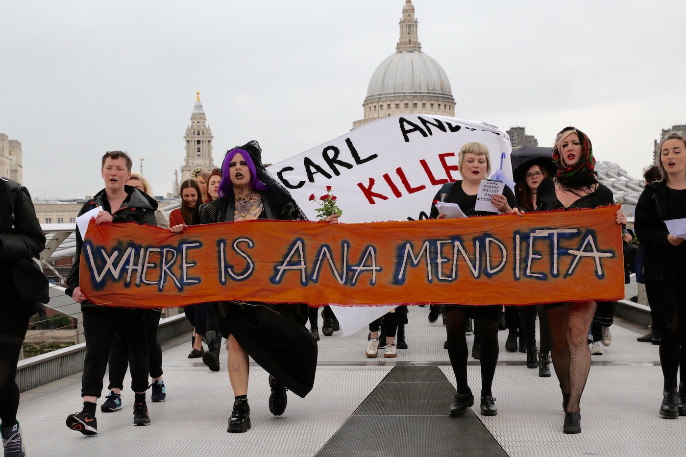 Protesters crossing Millennium Bridge en route to Tate Modern (all photos by and courtesy Charlotte Bell)