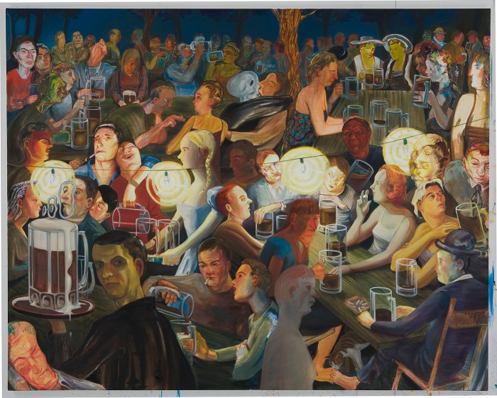 """Nicole Eisenman, """"Biergarten at Night"""" (2007), oil on canvas (all images courtesy the artist and Anton Kern Gallery, New York; © Nicole Eisenman) (click to enlarge)"""