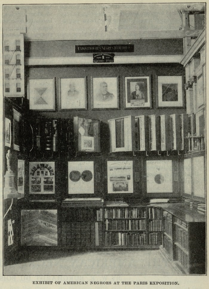 """Photograph of the """"Exhibit of American Negroes"""" at the Paris Exposition, including W. E. B. Du Bois's charts (via Library of Congress)"""