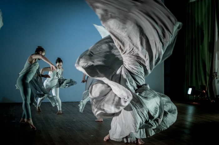 Time Lapse Dance, 'Ice Cycle,' choreography by Jody Sperling, dancers: Jenny Campbell, Lior Daniel, Krissy Tate (hidden), Halley Gerstel (downstage, hidden)