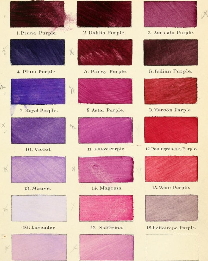"""Colors from Robert Ridgway's """"A Nomenclature of Colors for Naturalists : And Compendium of Useful Knowledge for Ornithologists."""" (1886) (via Boston Public Library/Wikimedia)"""