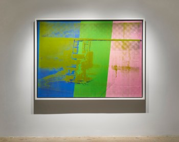 """Andy Warhol, """"Big Electric Chair"""" (1967–68), acrylic and silkscreen ink on canvas, 54 x 74 in"""