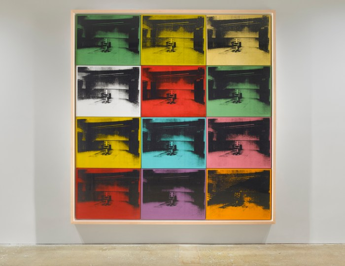 """Andy Warhol, """"Twelve Electric Chairs"""" (1964), acrylic and silkscreen ink on canvas, 92 x 88 1/3 in (all images courtesy Venus Over Manhattan unless indicated otherwise)"""