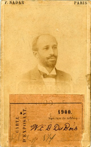 W. E. B. Du Bois on an identification card for the 1900 Exposition Universelle (photo by Paul Nadar, via Special Collections and University Archives, University of Massachusetts Amherst Libraries)