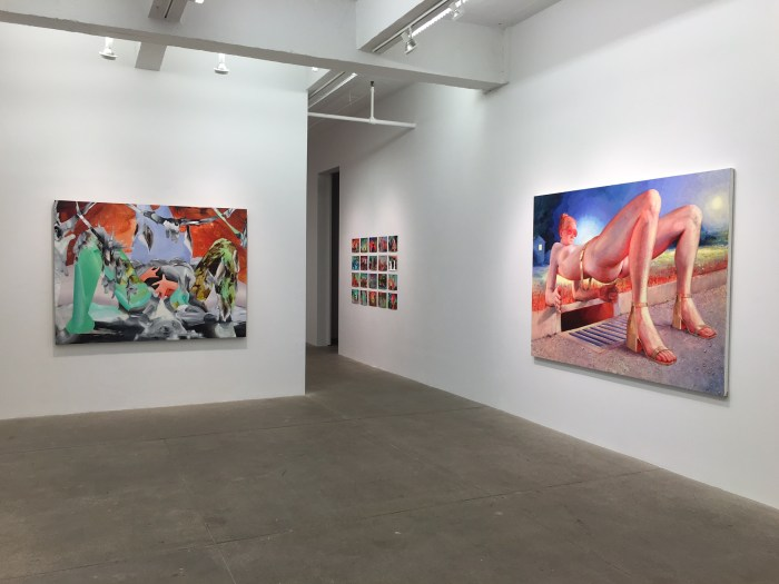 Installation view. Right: Robin F. Williams, In the Gutter, 2015. Oil on canvas. 84 x 63 inches.