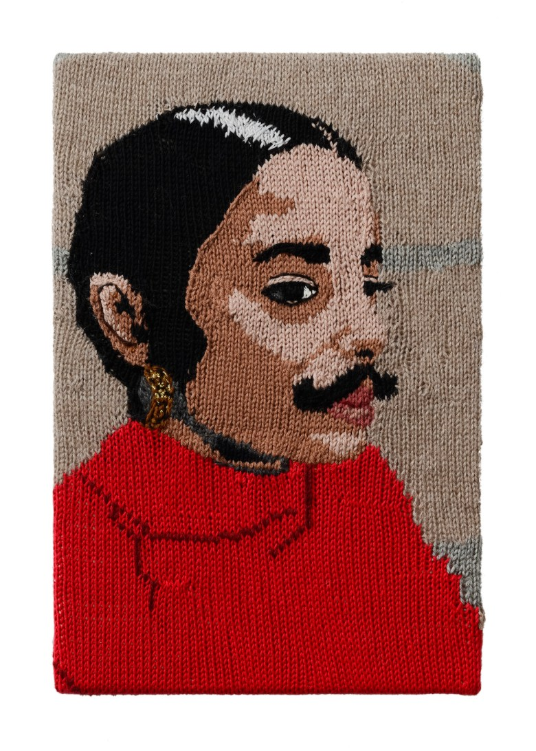 19.Kate Just, Feminist Fan #25 (Ana Mendieta, Untitled Facial Hair transplant, moustache, 1972), 2016 18 x 12 inches