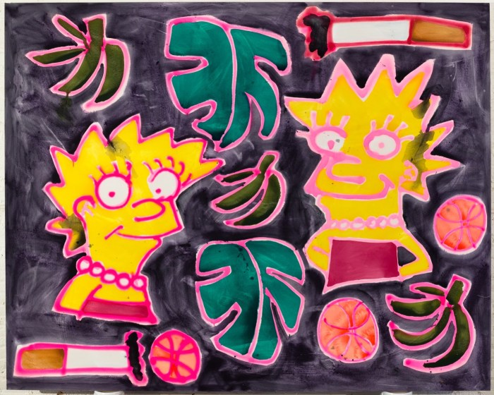 """Katherine Bernhardt """"Two Simpsons, Plantains, Basketballs, Cigarettes"""" (2016) Acrylic and spray paint on canvas 96 x 120 in."""
