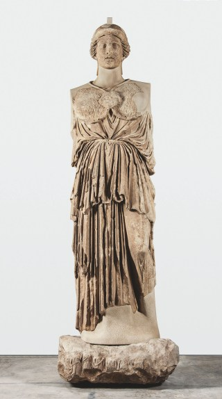 Statue of Athena Parthenos (Hellenistic period, 170 BCE), copy of a mid-5th century BBCE chryselephantine cult statue of Athena Parthenos by Pheidias, Marble (© SMB / Antikensammlung)