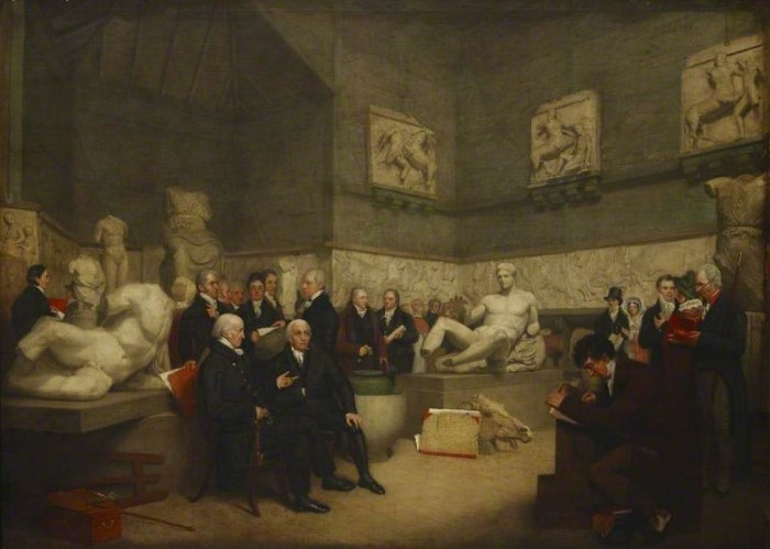 An 1819 painting by Archibald Archer portraying the Temporary Elgin Room at the British Museum (via BBC/Wikimedia)