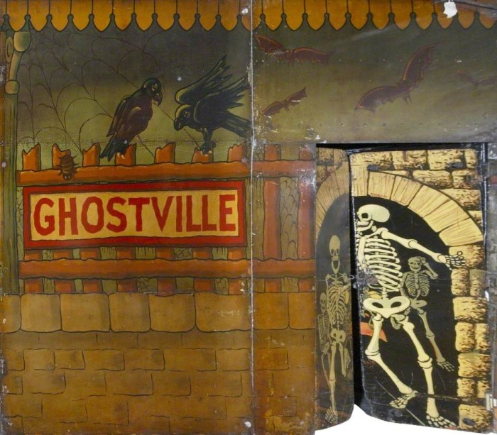 "Hall & Fowle, Brett's ""Ghost Train"" (backdrop) (1948-49), oil on metal (courtesy the Fairground Heritage Trust)"