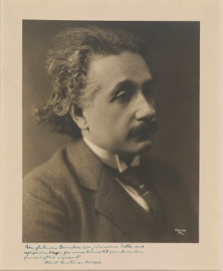 Herman Mishkin's 1921 photograph of Albert Einstein, signed and inscribed by Einstein (courtesy private collection)
