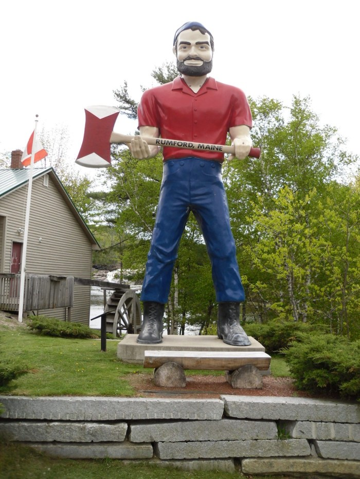 A mufler man outfitted like Paul Bunyan in Rumford, Maine (photo by Doug Kerr/Flickr)