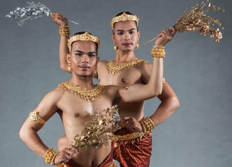 Photograph of two dancers from Natyarasa dance company. Photograph by Lim Sokchanlina.