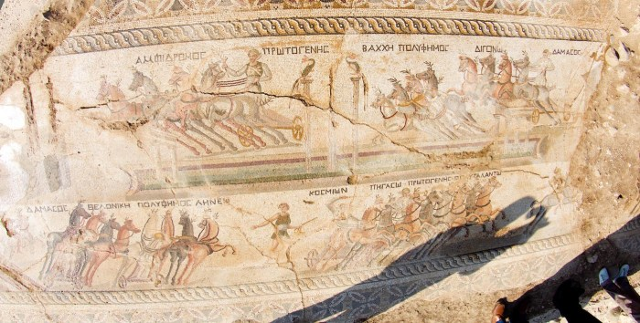 Mosaic at the site of Akaki, Lefkosia, Cyprus showing a chariot race (all photos by Stavros Ioannides via Cyprus' Press and Information Office unless otherwise noted)
