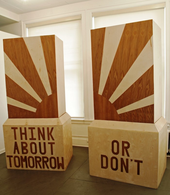 "Margaret Lee, ""Think About Tomorrow or Don't"" (2007), wood, watercolor, paper, dimensions variable"