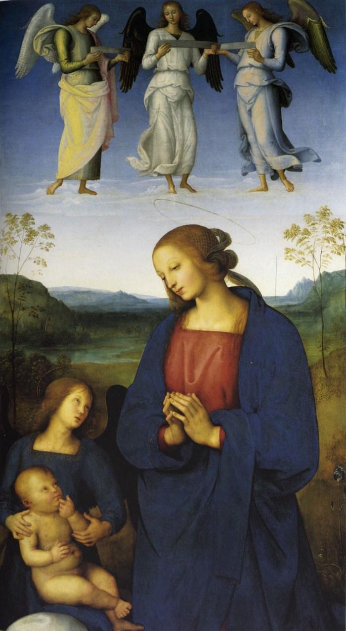 """Pietro Perugino, """"Polittico della Certosa di Pavia (Vergine col Bambino e angeli)"""" (1500), with lapis lazuli used in its blues (via National Gallery/Wikimedia)"""
