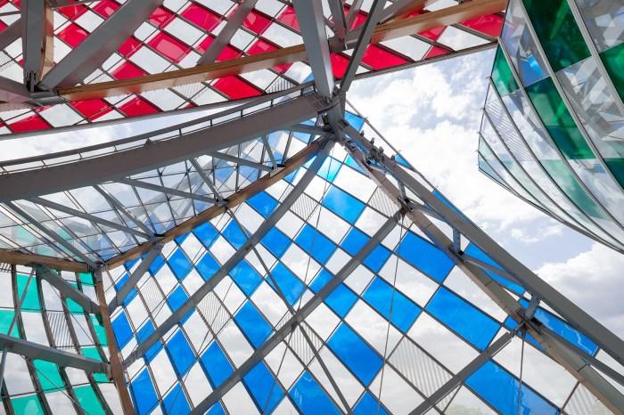 "Daniel Buren, ""Observatory of Light"" (2016), work in situ at the Fondation Louis Vuitton, Paris (© DB-ADAGP Paris / Iwan Baan / Fondation Louis Vuitton)"
