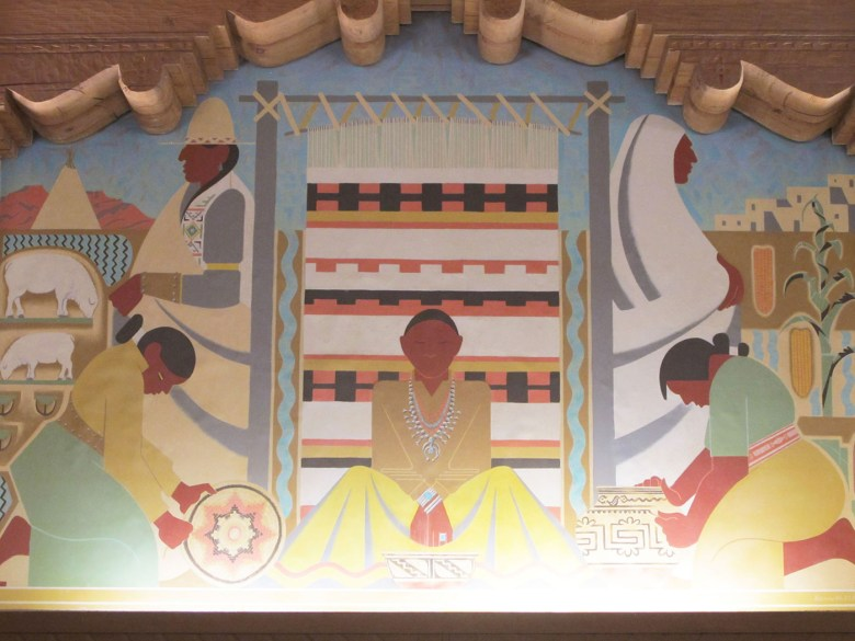 The first in a sequence of controversial murals in the University of New Mexico's main library, showing indigenous craftspeople