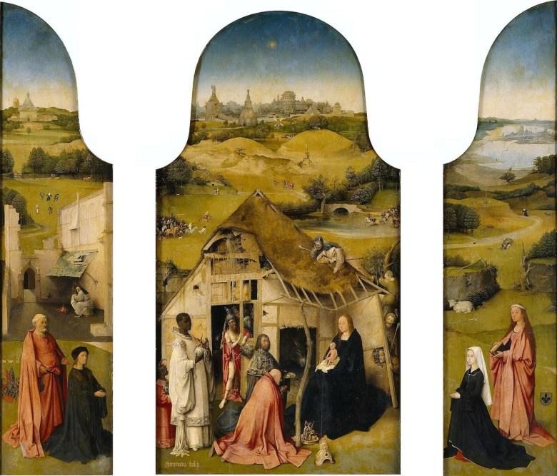he Adoration of the Magi, Interior (Saint Peter with donor, The Adoration of the Magi, Saint Agnes with donor) wikidata:Q2276130 DateCirca 1495 Medium oil on panel Dimensions Height: 138 cm (54.3 in). Width: 138 cm (54.3 in).