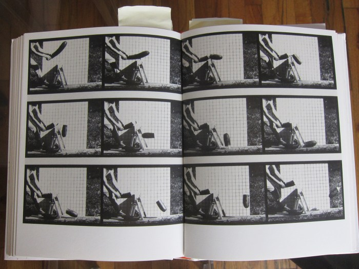 "Pages showing Marion Faller and Hollis Frampton's ""33. Zucchini Squash Encountering Sawhorse"" (1975), from the series 'Sixteen Studies from Vegetable Locomotion' (photo of the book by the author)"
