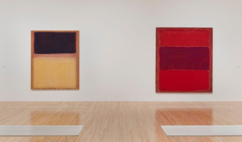 Works by Mark Rothko installed in the exhibition The Art of Our Time at The Museum of Contemporary Art, Los Angeles. Image courtesy of The Museum of Contemporary Art, Los Angeles