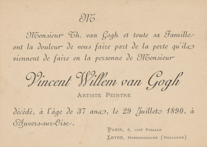 Funeral card for the death of Vincent van Gogh, July 1890, (image courtesy Van Gogh Museum, Amsterdam)
