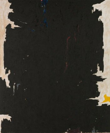 """Clyfford Still, """"1947-8-W No.2"""" (1947), oil on canvas, 108 1/2 x 88 in, collection Albright-Knox Art Gallery, Buffalo, New York, gift of the artist, 1964 (© 2016 City and County of Denver / Artists Rights Society [ARS], New York; photo by Tom Loonan)"""
