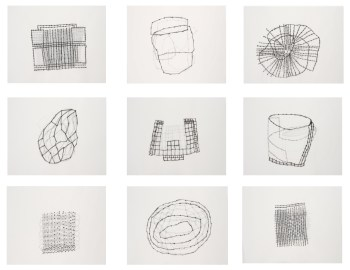 "Susan Hefuna, ""Building"" (2009), ink on tracing paper, nine parts, 21.5 x 62.5 cm each, Solomon R. Guggenheim Museum, New York, Guggenheim UBS MAP Purchase Fund and partial gift of the artist and Pi Artworks 2015.90 (© Susan Hefuna, photo courtesy Susan Hefuna and Pi Artworks, London)"