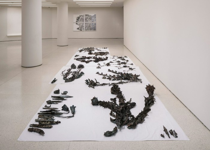 Installation view of 'But a Storm Is Blowing from Paradise: Contemporary Art of the Middle East and North Africa' at the Solomon R. Guggenheim Museum, New York