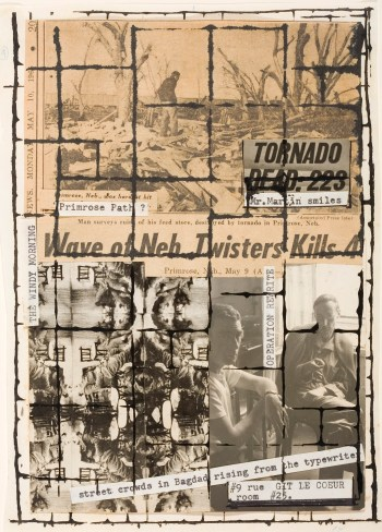 """Brion Gysin and William S. Burroughs, """"Untitled (Primrose Path, the Third Mind, p.12)"""" (1965) (Brion Gysin © Archives Galerie de France; William S. Burrougs © 2016, The William S. Burrougs Trust; all rights reserved © Los Angeles Country Museum of Art, Los Angeles / dist. RMN- Grand Palais / service presse Centre Pompidou)"""