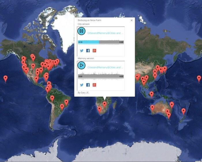 Cities and Memory's global sound map (screenshot via citiesandmemory.com)