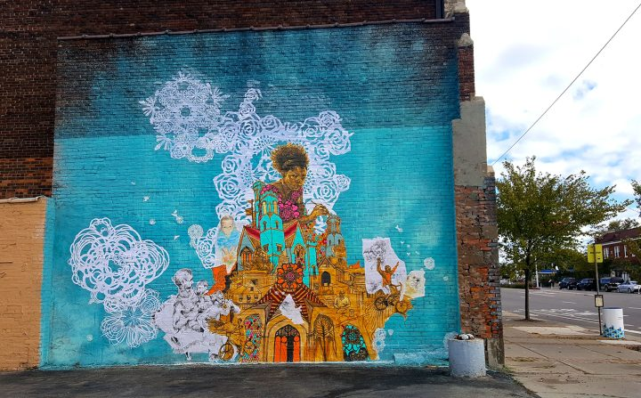 Curry's mural at Jefferson & Manistique on Detroit's east side.