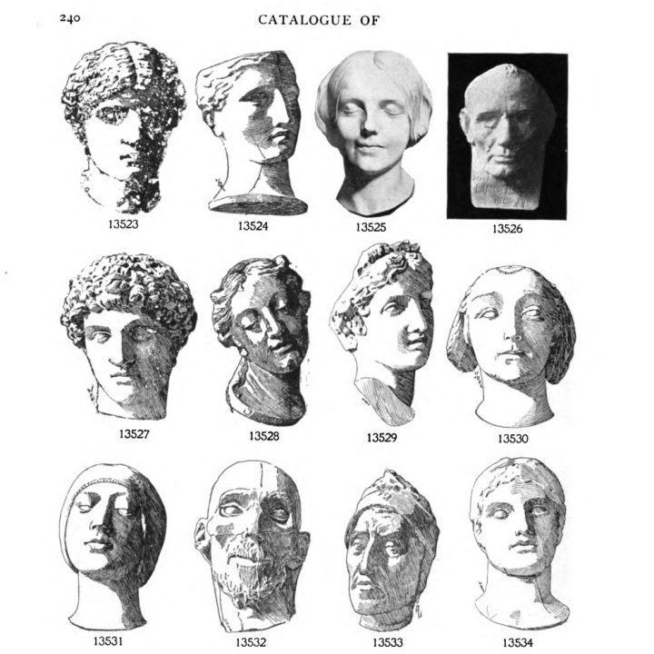 The Inconnue de la Seine in the top row of 'Catalogue of plaster cast reproductions from antique, medieval, and modern sculpture : subjects for art schools' from P.P. Caproni & Brothe (via Hathi Trust Digital Library)