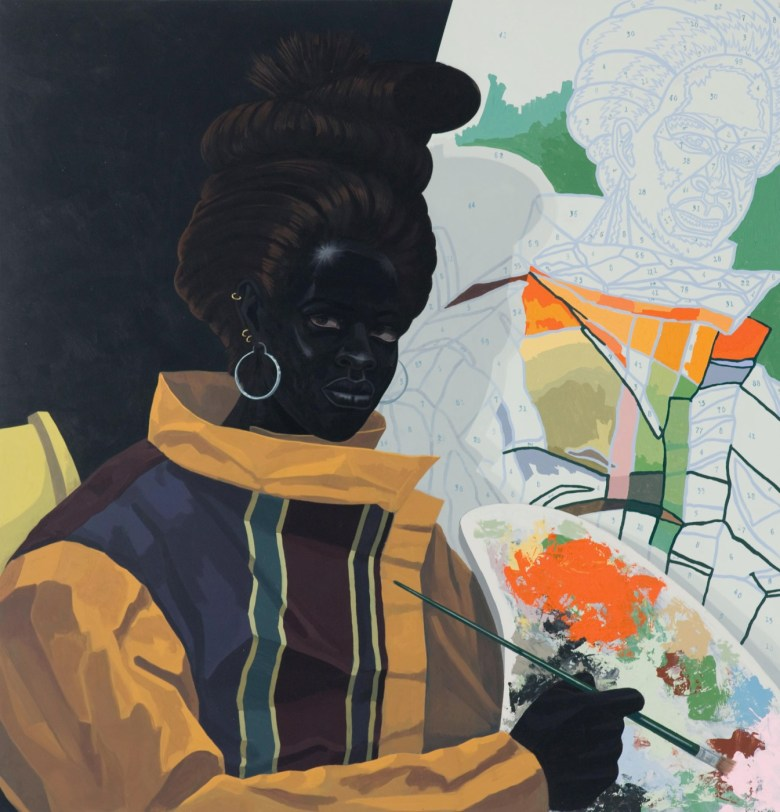 "Kerry James Marshall, ""Untitled (Painter)"" (2009) Acrylic on PVC panel 44 5/8 × 43 1/8 × 3 7/8 in. (Photo: Nathan Keay, © MCA Chicago Kerry)"
