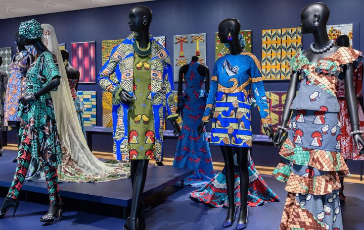 Installation view, Vlisco: African Fashion on a Global Stage at the Philadelphia Museum of Art (photo by Tim