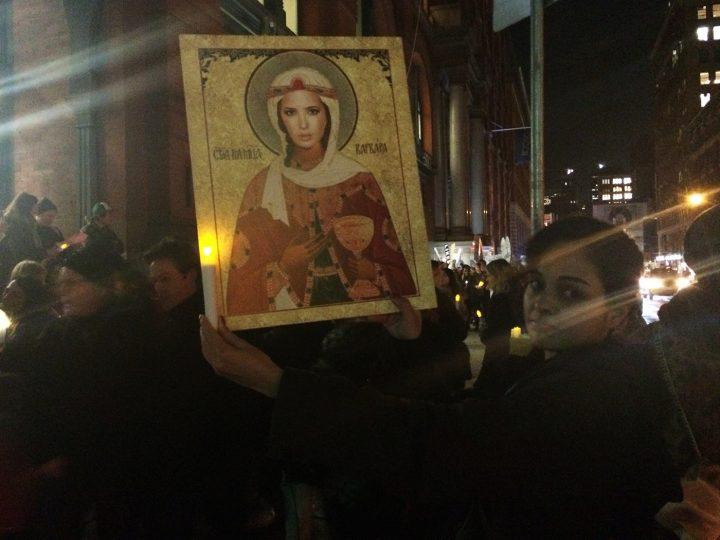 Fortnight Institute's Fabiola Alondra at the #DearIvanka protest