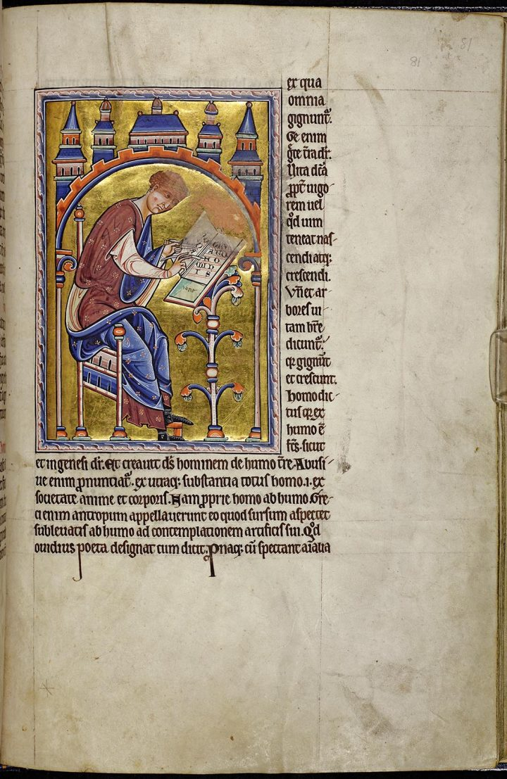 Detail of folio 81r from the Aberdeen Bestiary showing the scribe Isidore