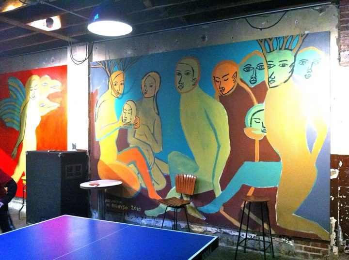 Arrington de Dionyso's mural at Comet Ping Pong