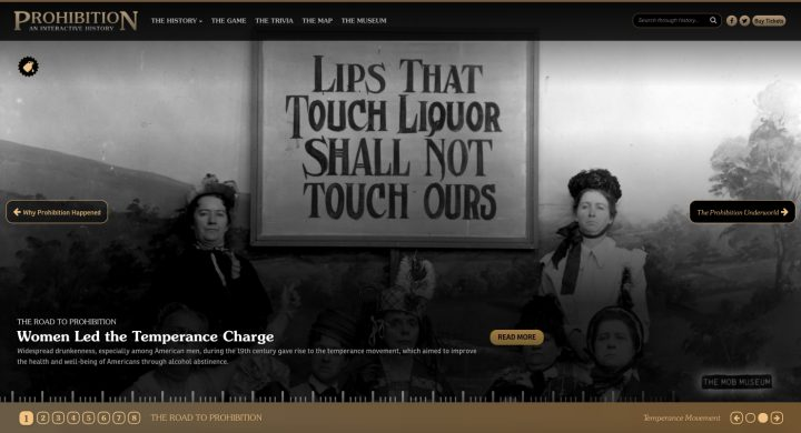 Prohibition: An Interactive History from the Mob Museum (screenshot by the author for Hyperallergic)