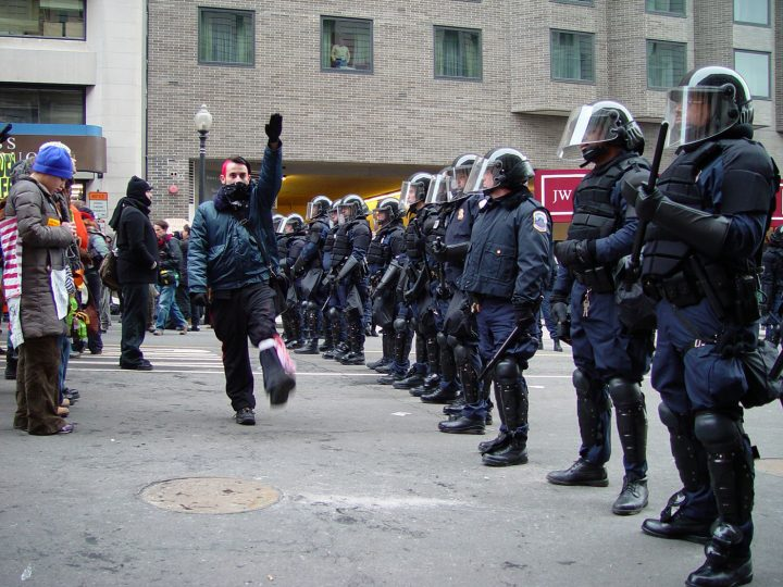 Protests at the second inauguration of G.W. Bush, January 2005 (photo by Jonathan McIntosh/Wikimedia Commons)