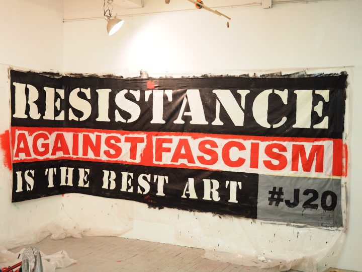 Occupy Musuems banner for #J20 event at the Whitney Museum (courtesy Occupy Museums)