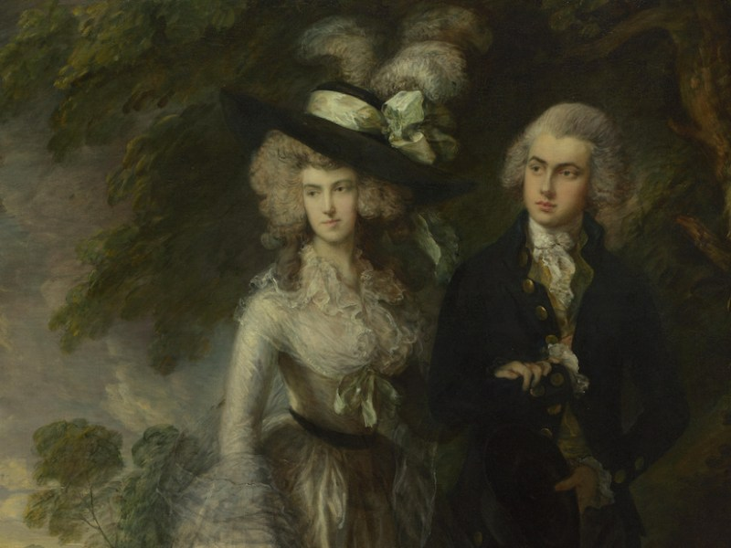 "Thomas Gainsborough, ""Mr. and Mrs. William Hallett"" (aka ""The Morning Walk"") (1785), oil on canvas, 236.2 x 179.1 cm (© The National Gallery, London; via Wikimedia Commons)"