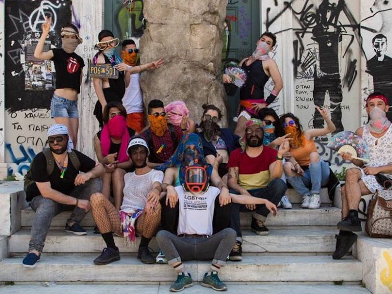 Lgbtqi+ Refugees in Greece with Roger Bernat's replica of the oath stone (photo courtesy Lgbtqi+ Refugees in Greece)