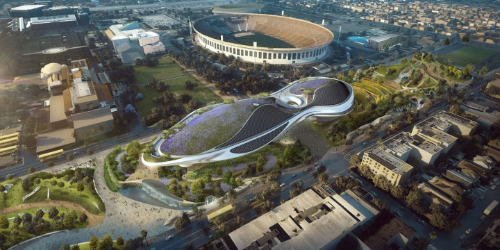 Rendering of the Lucas Museum of Narrative Art in Los Angeles (courtesy of Lucas Museum of Narrative Art, used under authorization, all rights reserved)